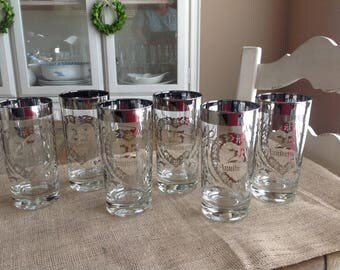 Set of 6  25th Anniversary Drinking Glasses Silver Anniverary