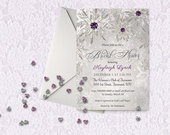 PRINTABLE Bridal Shower Invitation Template, Silver Purple Winter Bridal Shower Invitation, Wedding Shower Invitation Template,Snowflakes