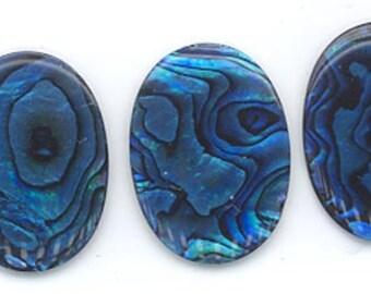 Two paua shell cabochons - bright blue - 25 x 18 mm