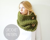 FLASH SALE crochet pattern - chunky cowl crochet pattern - the Pisgah button cowl
