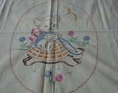RESERVED for LOIS     Vintage 1950s Hand Embroidered Baby Blanket - Bear riding on a Turtle-Un finished
