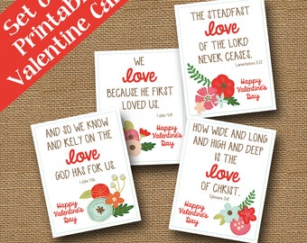 God's Love Valentines | Happy Floral Valentines | Scripture, Bible Verse, Christian Cute Valentine Cards | DIY PRINTABLE | SET of 4 Designs
