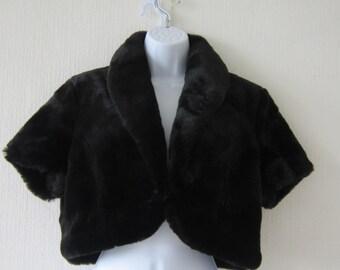 Wallace Sacks Black Faux Fur Short Sleeved Jacket