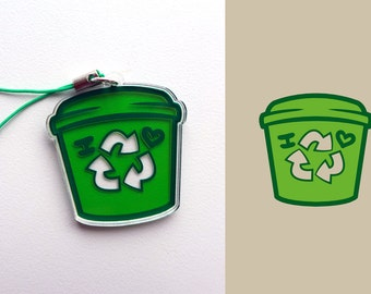 Acrylic Recycle Recycling Compost Composting Green Bin Charm Keychain with Phone Strap