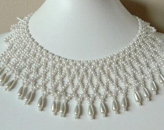 Beautiful Dramatic Vintage Faux Pearl Bib Necklace- Beaded Choker Collar 1960s Elegant Sexy Glamour Bridal Diamond Pattern Dangle Off White
