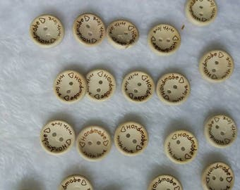 "30 PC wood buttons 25mm/20mm/15mm - Wooden Buttons ,tree buttons, natural wood buttons ""handmade"""