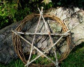 Large Pagan Witch Oak Pentacle Wreath  Witch Kitchen. Home Blessing / Protection. Handfasting.