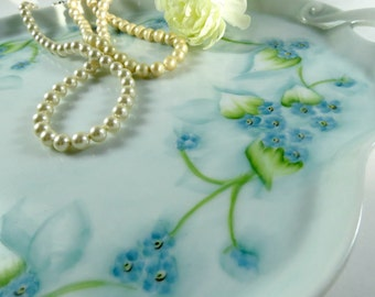 Vintage Porcelain Tray, Hand Painted w Blue Forget Me Nots,  Signed N Grieser, Soft Greens and Blues, Vintage by TheSweetBasilShoppe