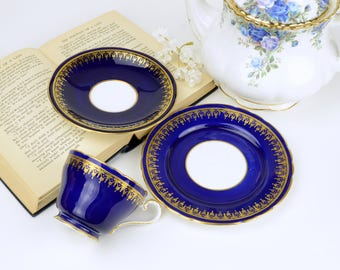 Aynsley Cobalt Blue and Gold Teacup and Saucer Trio, English Bone China Tea Cup, Saucer And Bread & Butter Plate, ca.  1934-1939