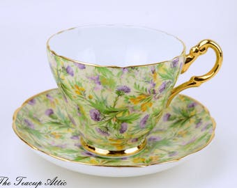 Regency Floral Chintz Teacup and Saucer Set,  English Bone China Tea Cup And Saucer, Garden Tea Party, ca. 1950