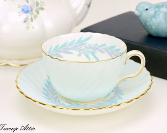 Mintons Pale Blue Swirled Teacup and Saucer,  English Bone China Tea Cup And Saucer, Replacement China, ca. 1912-1950