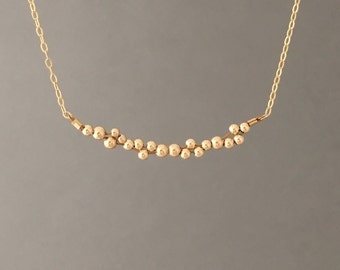 Cluster Beaded Gold Fill Necklace Rose Gold Fill or Sterling Silver