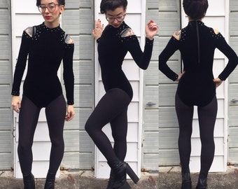 Vintage velvet bodysuit with rhinestones and shoulder cut outs xs