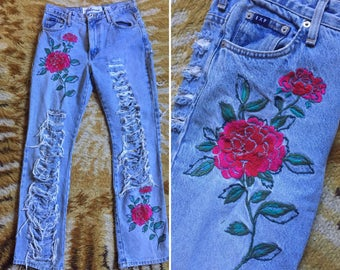Insane Vintage Embroidered Jeans Distressed Express Bleus 7/8 Rose Festival