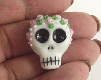 lampwork glass floral skull bead for jewellery making, charms, Halloween, day of the dead, SRA