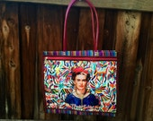 Frida Kahlo otomi style pink Market Tote bag with zipper compartment