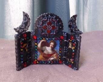 Triple Goddess Mini Triptych Shrine.  Three Panel Altar.  Travel Shrine. Persephone Demeter Hecate. Maiden Mother Crone.