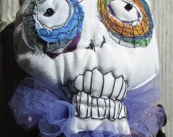 Purple Skeleton handmade art monster doll