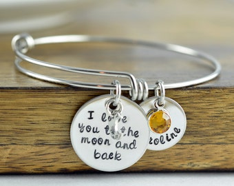 I Love You To The Moon And Back Bracelet, Personalized Jewelry, Mother's Day Gift, Gift For Moms, Gift For Grandma, Bangle Bracelet