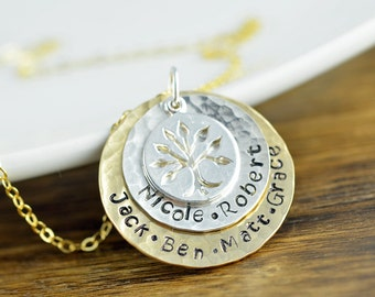 Tree of Life Pendant - Family Tree Necklace - Tree of Life Jewelry - Mom Necklace with Kids Names - Grandma Gift