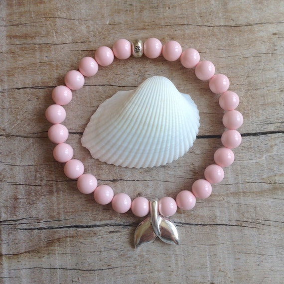 pink mermaid bracelet, beach bracelet, pink bracelet, beachcomber bracelet