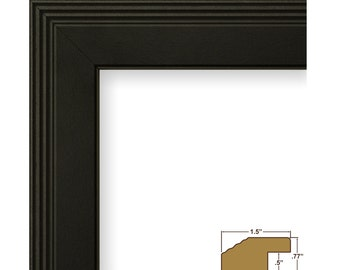 """Craig Frames, 16x20 Inch Contemporary Black Picture Frame, Mossehaus, .75"""" Wide (FW4BK1620)"""