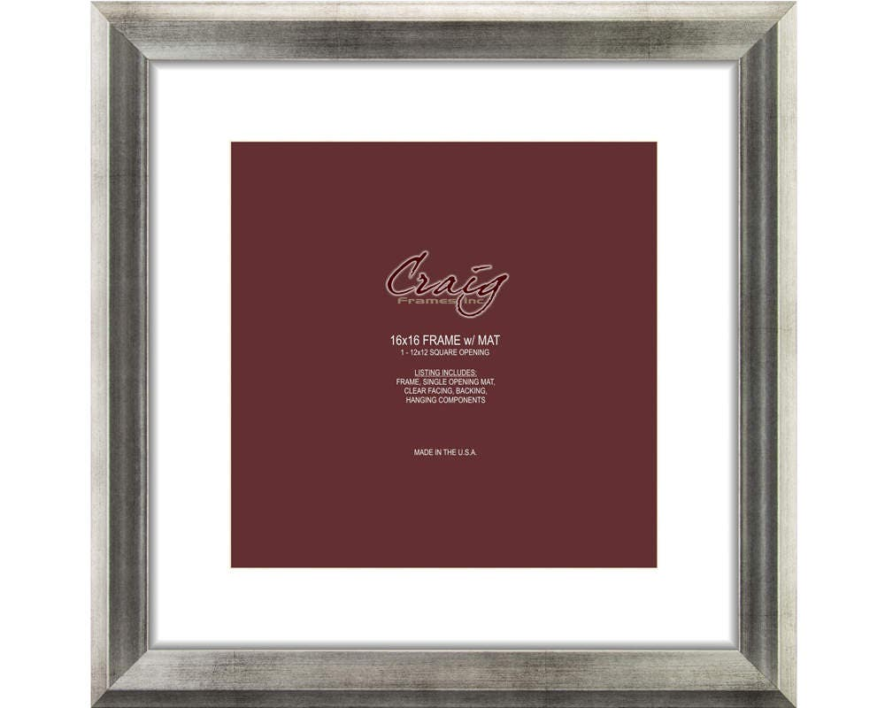Craig Frames 16x16 Inch Antique Silver Picture Frame