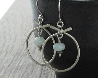Amazonite Hammered Silver Earrings, Matte Finish Sterling Silver Earrings, Amazonite Earrings, Natural Stone Earrings E839