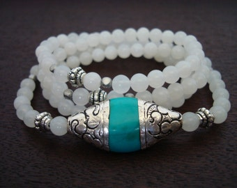 Women's Tibetan Capped Turquoise Mala // Turquoise & White Quartz Mala Necklace or Wrap Bracelet // Yoga, Buddhist, Jewelry