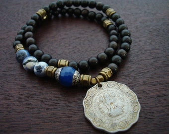 Tibetan Capped Blue Jade Indian Coin Mala Bracelet // Sodalite 54 Bead Double Wrap Mala Bracelet // Yoga, Buddhist, Prayer Beads, Jewelry