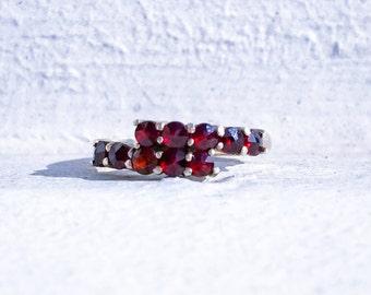 Antique Bohemian Garnet Bypass Ring / Size 6.5