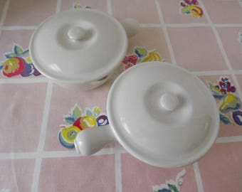 Vintage Hall China Company, Set of Two Covered Medium White Casseroles #645, Handle & Pour Spout, Retro Kitchen, Circa 1969