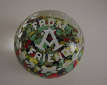 "Vintage Masonic Paperweight, ""From A Friend"", Paperweight Collector, Masonic Collectible, Art Glass, Desk Decor, Circa 1950's"