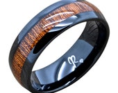 Tungsten Ring Koa Wood Wedding Band, Black 8mm Comfort Fit  With Smooth Inlay Round Edge