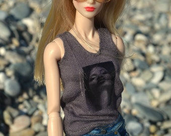 MADE TO ORDER - Gray Tank Top in Erykah Print for 11.5-inch to 12-inch Fashion Dolls