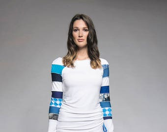 Long sleeve casual sweater with recycled materials - White sweater with patchwork sleeve - Shirt - Ethical fashion - Made in Quebec