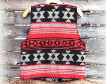 Vintage Western Wool Vest, Cheyenne Autumn, Black Red & Gray Native Pattern with Whipstitch, Women's size S to M