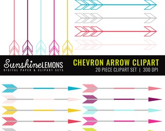 Chevron Arrows Clipart - Arrow Clipart - Set of 20 different colored arrows