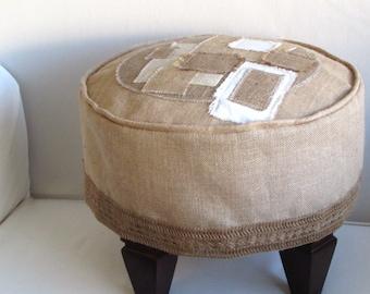 Tuffet Patchwork Slipcovered Burlap Stool/seating/furniture