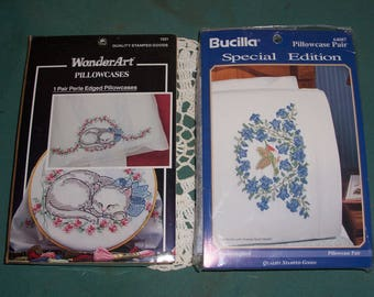 Set of Two..Stamped Cross Stitch Pillowcases..New in Package..Hummingbird & Sleeping Kitten Pillow Cases..Bucilla and Wonder Art Pillowcases