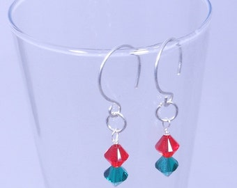 Christmas Jewels Earrings with Swarovski Bicones and SS Findings