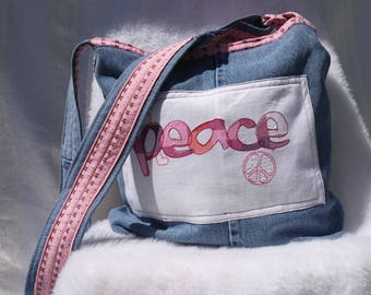 Denim Peace Tote, Denim Tote, Large Tote, Large Denim Shoulder Bag, Upcycled Denim Bag, Repurposed Blue Jeans, Shoulder Bag, Peace Sign