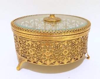 Gold Filigree Jewelry Box with Glass Lid