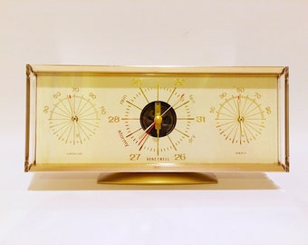 Mid Century Honeywell Desk Barometer Temperature Humidity Weather Station
