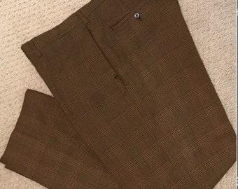 """Vintage 1960's Men's Plaid Pants Sears Kings Road Perma Prest Plaid Slacks 34-35"""" Waist / Inseam 31"""" Size Medium"""