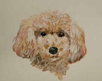 Ready to ship, Original dog painting on paper poodle watercolor