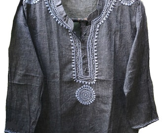 Indian khadi cotton, Hippie clothes, homespun fabric, gypsy clothing, banjara shirt, peasant wedding dress, embroidered tunic, tribal tops