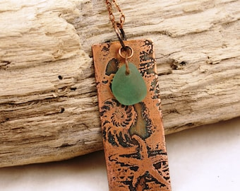 By the Sea Shore--Etched Copper Beach Focal and Genuine Sea Glass Necklace  685