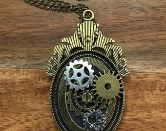 Necklace  jewelry  steam punk Alice in Wonderland Cameo
