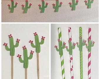Cactus ~ Cactus Straws ~ Cactus Banner ~ Cactus Cupcake Toppers ~ Fiesta Party ~ Succulent